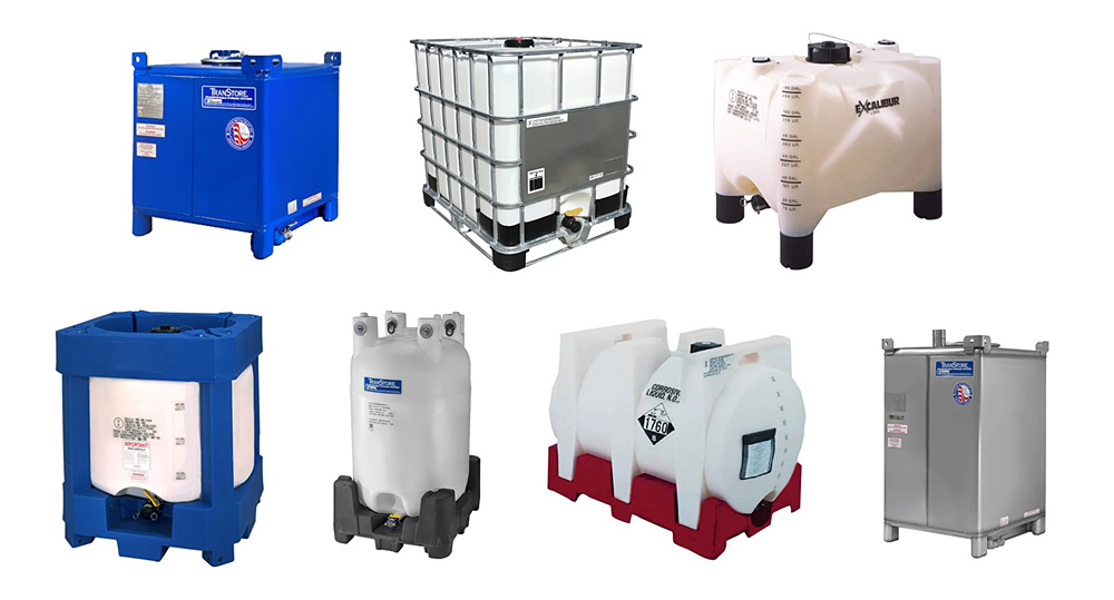 Various types of IBC tanks. The ones I've seen (and which I believe are most used by preppers) are the type in the middle of the top row. The metal frame comes with the tank.