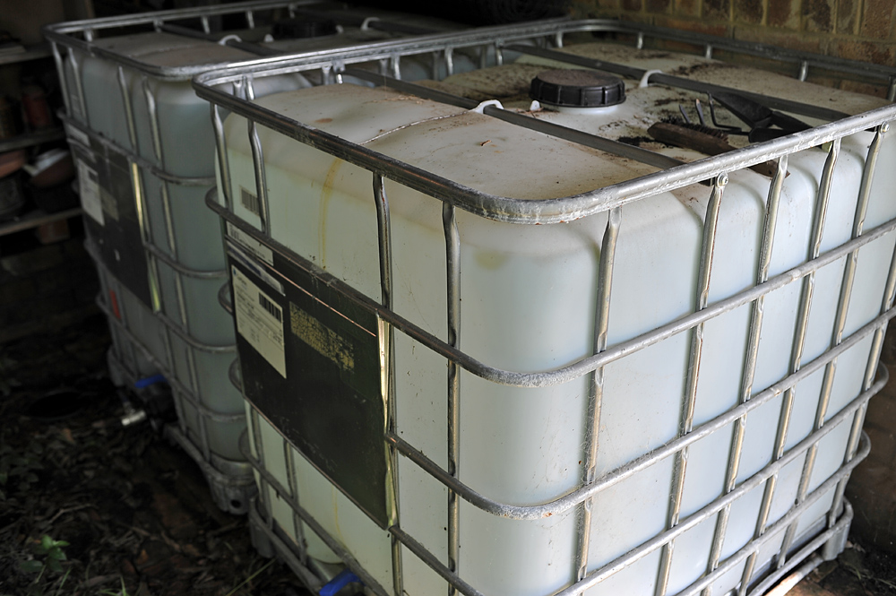 If you're on a tight budget, food-grade IBC tanks like these are probably the best way there is to store a large amount of water.